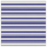[ Thumbnail: Midnight Blue & White Pattern of Stripes Fabric ]