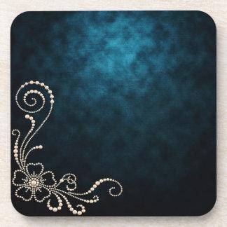 Midnight Blue White Pearls Clouds Flower Coaster