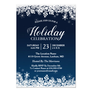 Midnight Blue White Snowflakes Holiday Celebration Card