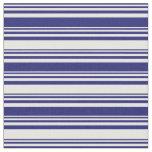 [ Thumbnail: Midnight Blue & White Stripes Fabric ]