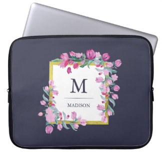 Midnight Blue with Pink Bougainvillea Flowers Laptop Sleeve