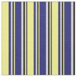 [ Thumbnail: Midnight Blue, Yellow, Black & Light Gray Pattern Fabric ]