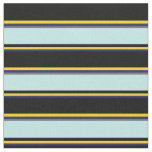 [ Thumbnail: Midnight Blue, Yellow, Black, Turquoise & Dim Grey Fabric ]
