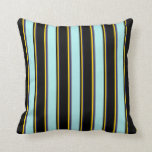 [ Thumbnail: Midnight Blue, Yellow, Black, Turquoise & Dim Grey Throw Pillow ]