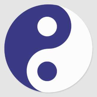 Midnight Blue Yin Yang Symbol Classic Round Sticker