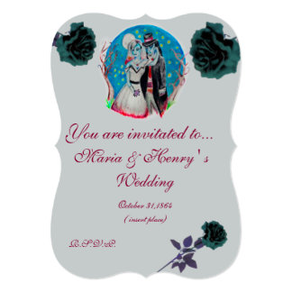 Midnight Blue Zombie Wedding Card