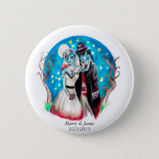 Midnight Blue Zombie Wedding Pinback Button