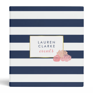 Midnight Blush Peony Personalized Binder