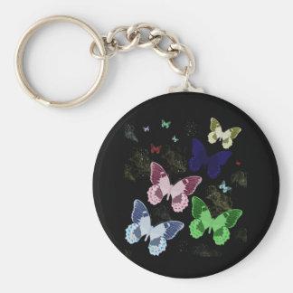 Midnight Butterflies Basic Round Button Keychain