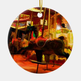 Midnight Carousel Ride Ceramic Ornament
