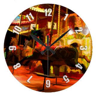 Midnight Carousel Ride Large Clock