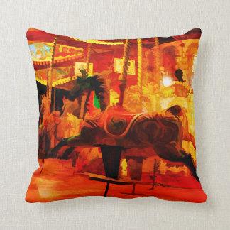 Midnight Carousel Ride Throw Pillow