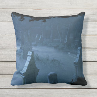 Midnight Cemetery Throw Pillow