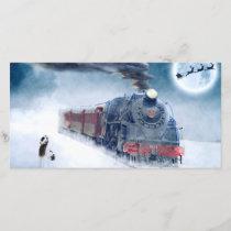 Midnight Christmas Train with Girl and Santa Holiday Card