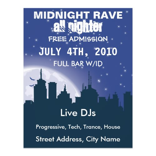Midnight City Rave Flyer flyer