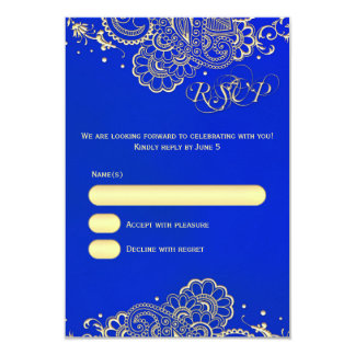 Midnight Cobalt Blue Gold Henna Lace RSVP Card