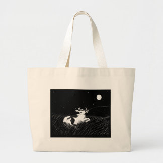 Midnight Cow Canvas Bag