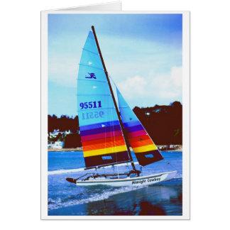 Midnight Cowboy Hobie sailing boat Card