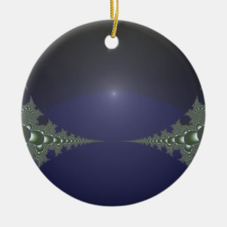 Midnight Dawn Fractal Double-Sided Ceramic Round Christmas Ornament