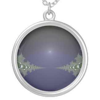 Midnight Dawn Fractal Round Pendant Necklace