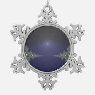 Midnight Dawn Fractal Snowflake Pewter Christmas Ornament