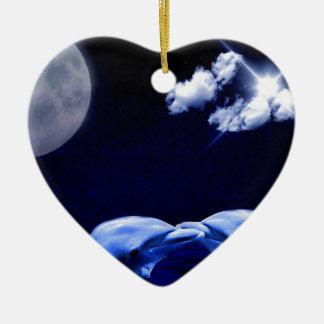 Midnight Dolphin Kiss Ceramic Ornament