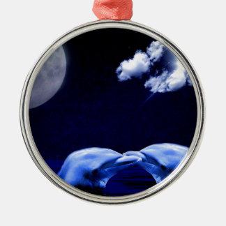 Midnight Dolphin Kiss Metal Ornament
