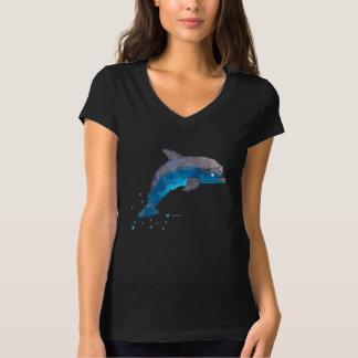 Midnight Dolphin Women's V-Neck T-shirt (Black)