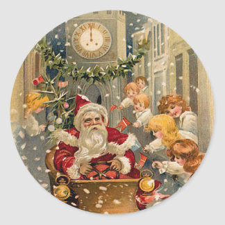 Midnight Drive Vintage Christmas Card Classic Round Sticker