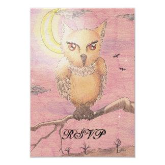 Midnight Eyes Cute Owl RSVP Goth Gothic 3.5x5 Paper Invitation Card
