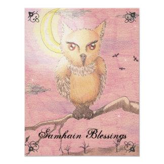 Midnight Eyes Cute Owl Samhain Goth Gothic 4.25x5.5 Paper Invitation Card