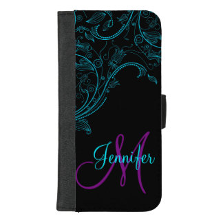 Midnight Fantasy Floral Blue and Purple iPhone 8/7 Plus Wallet Case