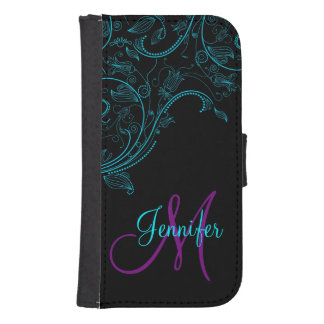 Midnight Fantasy Floral Blue and Purple Wallet Phone Case For Samsung Galaxy S4