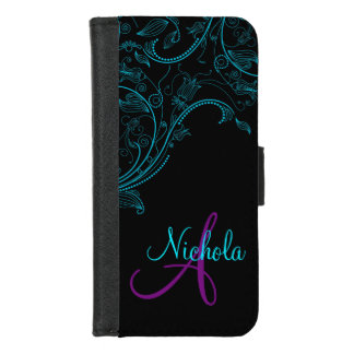Midnight Floral Fantasy Blue and Purple iPhone5 iPhone 8/7 Wallet Case