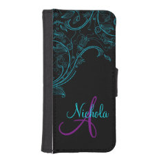 Midnight Floral Fantasy Blue and Purple iPhone5 Wallet Phone Case For iPhone SE/5/5s at Zazzle