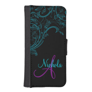 Midnight Floral Fantasy Blue and Purple iPhone5 Wallet Phone Case For iPhone SE/5/5s