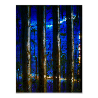 MIDNIGHT FOREST BIRCH TREES POSTER