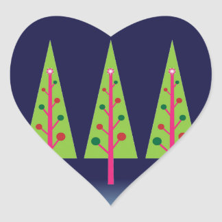 Midnight Forest on Christmas Eve Heart Sticker