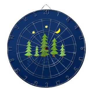 Midnight Forest with Trees Stars and Moon Dart Board
