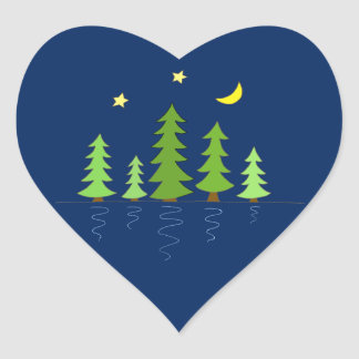 Midnight Forest with Trees Stars and Moon Heart Sticker