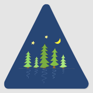 Midnight Forest with Trees Stars and Moon Triangle Sticker