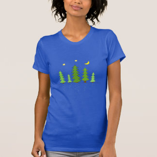 Midnight Forest with Trees Stars and Moon T Shirt