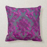 Midnight Fuchsia Damask Throw Pillow