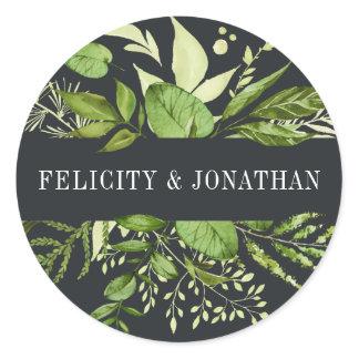 Midnight Garden | Green Botanical Wedding Classic Round Sticker