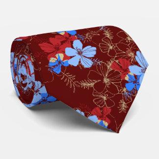 Midnight Garden Hibiscus Floral Tie