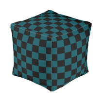 Midnight Green and Black Checkered Pouf