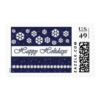 MIDNIGHT Happy Holidays Candy Cane & Snowflakes Postage