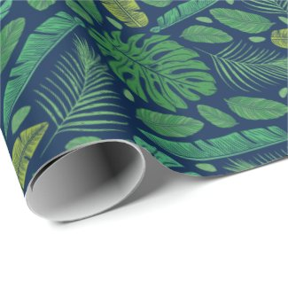 Midnight in the Jungle Leafy Wrapping Paper