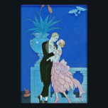 """Midnight Kiss Art Deco Poster<br><div class=""""desc"""">Midnight Kiss Art Deco. Art Deco illustration from 1921. French artist Georges Barbier was famous for his beautiful and lively depiction of Parisian nightlife. Midnight Kiss depicts a couple standing on a balcony overlooking the river as a boat sails by in the distance. The man wears a black tuxedo and...</div>"""