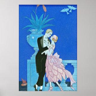 Midnight Kiss Art Deco Poster